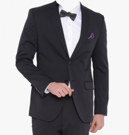Black Solid Blazer For Men