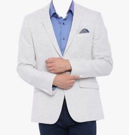 White Solid Blazer