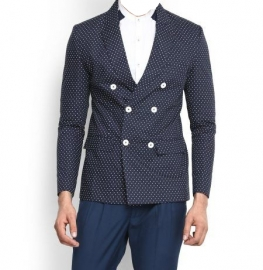Blue Double Breasted Printed Full Sleeves Blazer