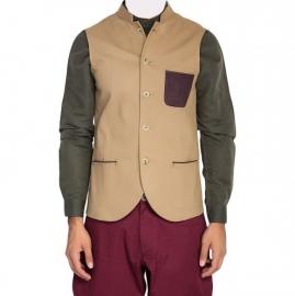 Beige Nehru Jacket With Patch Pocket