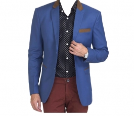 Design Blue Solid Casual Blazers Without Hood