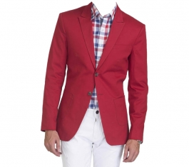 Red Solid Casual Blazers Without Hood