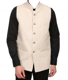 Linen Grandad Collar Festive Cream Nehru Jacket