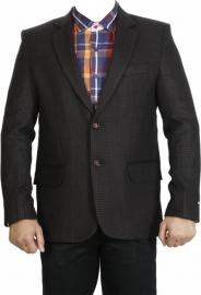 Black Checkered Style Casual Men's Blazer