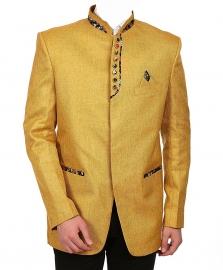 Collar Festive Yellow Nehru Blazer
