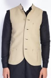 Beige Linen Nehru Jacket