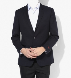 Navy Blue Solid Slim Fit Jackets & Blazers