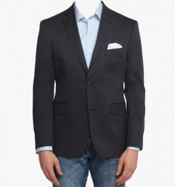 Navy Blue Solid Tailored Fit Jacket