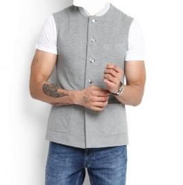 Grey Nehru Jackets Casual Sleeveless Jacket