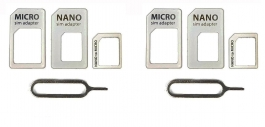 Sim Card Adapter Nano To Micro - Nano To Regular - Micro To Regular With Eject Pin ( Pack Of 2 )