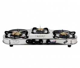 Laxmi Superior Kia Model 3 Burner Gas Stove (silver)