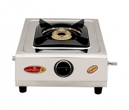 Krishna Laxmi Superior Single Burner Kia Model Steel Gas Stove, Silver