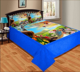 Best Peacock Premium Digital Print Velvet Double Bed Bedheet With 2 Pillow Cover