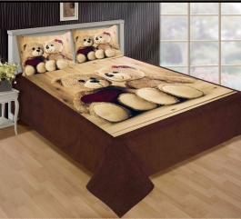 Best Couple Teddy Bear Premium Digital Print Velvet Double Bed Bedheet With 2 Pillow Cover