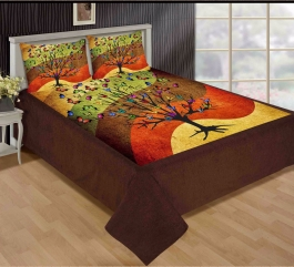 Best Tree With Butterfly Premium Digital Print Velvet Double Bed Bedheet With 2 Pillow Cover