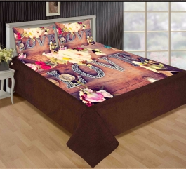 Love With Flower Premium Digital Print Velvet Double Bed Bedheet With 2 Pillow Cover