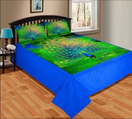 Peacock Dance  Premium Digital Print Velvet Double Bed Bedheet With 2 Pillow Cover