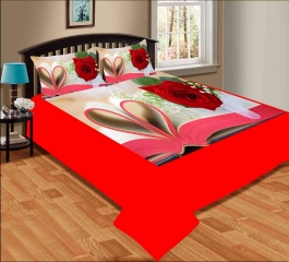 Rose With Heart Premium Digital Print Velvet Double Bed Bedheet With 2 Pillow Cover