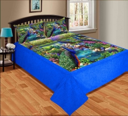 Peacock With Natural Design Premium Digital Print Velvet Double Bed Bedheet With 2 Pillow Cover