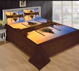 Best Tajmahal Design Premium Digital Print Velvet Double Bed Bedheet With 2 Pillow Cover