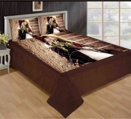 Best Cute Couple Premium Digital Print Velvet Double Bed Bedheet With 2 Pillow Cover