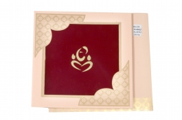 Wedding Invitation Card Maroon&pink Wedding Invitation Pack Of 100