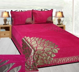 Loomsense Velvet Floral King Bedsheet With Two Pillow Cover(90x100inches)