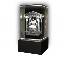 Aadya 3d Crystal Engraved Gifts - 3d Photo Engraved Ram Sita Crystal Cube 5x5x8 Cm