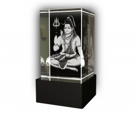 Aadya 3d Crystal Engraved Gifts - 3d Photo Engraved Shivaji Maharaj Crystal Cube 5x5x8 Cm