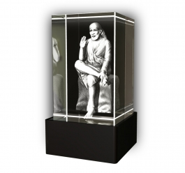 Aadya 3d Crystal Engraved Gifts - 3d Photo Engraved God Saraswathy Crystal Cube 5x5x8 Cm
