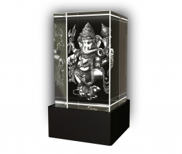 Aadya 3d Crystal Engraved Gifts - 3d Photo Engraved God Ganesh Crystal Cube 5x5x8 Cm