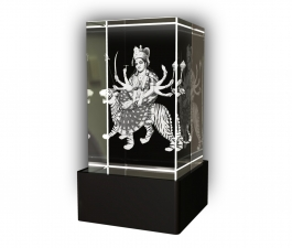 Aadya 3d Crystal Engraved Gifts - 3d Photo Engraved God Durga Crystal Cube 5x5x8 Cm