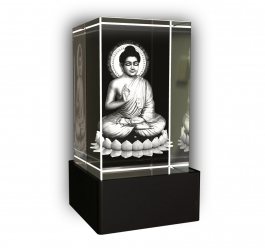 Aadya 3d Crystal Engraved Gifts - 3d Photo Engraved God Buddha Crystal Cube 5x5x8 Cm