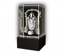 Aadya 3d Crystal Engraved Gifts - 3d Photo Engraved God Balaji Crystal Cube 5x5x8 Cm