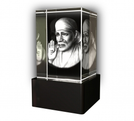 Aadya 3d Crystal Engraved Gifts - 3d Photo Engraved Saibaba Crystal Cube 6x4x4 Cm