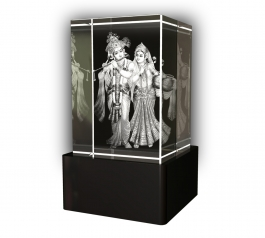 Aadya 3d Crystal Engraved Gifts - 3d Photo Engraved Radha Krishna Crystal Cube 6x4x4 Cm
