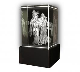 Aadya 3d Crystal Engraved Gifts - 3d Photo Engraved Radha Krishna Crystal Cube 6x4x4 Cm