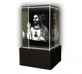 Aadya 3d Crystal Engraved Gifts - 3d Photo Engraved God Jesus Crystal Cube 6x4x4 Cm