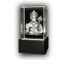 Aadya 3d Crystal Engraved Gifts - 3d Photo Engraved God Hanuman Crystal Cube 6x4x4 Cm