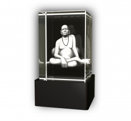 Aadya 3d Crystal Engraved Gifts - 3d Photo Engraved Swamy Dattatry Crystal Cube 6x4x4 Cm