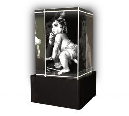 Aadya 3d Crystal Engraved Gifts - 3d Photo Engraved Baby Krishna Crystal Cube 6x4x4 Cm
