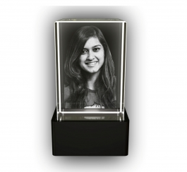 Aadya 3d Crystal Engraved Gifts - Single 3d Photo Personalized Laser Engraved Crystal Cube 6x4x4 Cm
