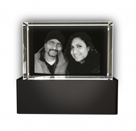 Aadya 3d Crystal Engraved Gifts - Couple 3d Photo Personalized Laser Engraved Crystal Cube 6x4x4 Cm