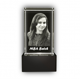 Aadya 3d Crystal Engraved Gifts - Single 3d Photo Personalized Laser Engraved Crystal Cube 5x5x8 Cm