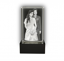 Aadya 3d Crystal Engraved Gifts - Couple 3d Photo Personalized Laser Engraved Crystal Cube 6x6x10 Cm