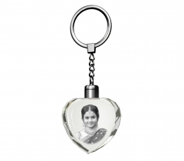 Aadya 3d Crystal Engraved Gifts - Single Image 2d Photo Personalized Laser Engraved Crystal Heart Shape Key Chain With Multi Color Led Light