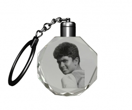 Aadya 3d Crystal Engraved Gifts - Single Image 2d Photo Personalized Laser Engraved Crystal Round Shape Key Chain With Multi Color Led Light