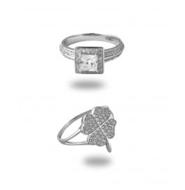 Platinum Plated Stylish Diamond Ring Combo
