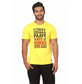 Crush Fitness Men's Cotton Haye Hukku Yellow T-shirt
