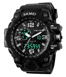 Skmei Black And Blue Round Dial Analog-digital Casual Watch